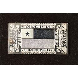20 GRAM .999 FINE SILVER PROOF BAR CHILE  BY THE