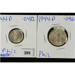 US/PHILIPPINES SILVER 1944-D 10 CENTAVOS AND 1994D