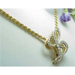 Diamond  L  pendant approx .60ctw on a rope chain 16  14kt yellow gold 15.4gr