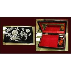 Black Lacquer Jewelry Box with an inlaid Mother of Pearl Top.  Measures 7 7/8  long x 2  tall x 4 5/