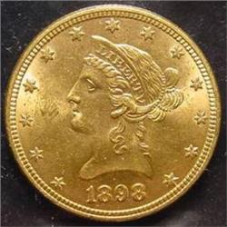 1898 $10.00 Liberty Gold Coin  MS 62+