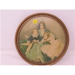 ROUND PICTURE IN FRAME (EATONS) *VERY OLD*