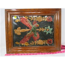 """FRAMED COPPER PICTURE (PARROT) *20"""" X 16""""*"""
