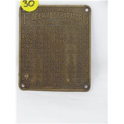 NAME PLATE (THE DE LAVAL SEPARATOR CO.)