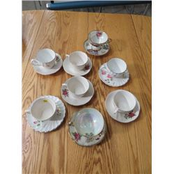 LOT OF 8 ASSTD CUPS & SAUCERS (ENGLAND, JAPAN) *GOLD TRIM, FLORAL*