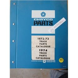 PARTS CATALOGUE (CHRYCO) * 1972-73*