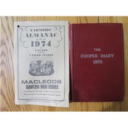 LOT OF 2 (THE COOPER DIARY) *1950* (FARMER'S ALMANAC) *1974*