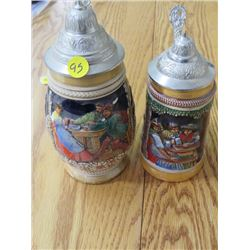 BEER STEINS (GERMAN) *LIDS, 1 IS CHIPPED*