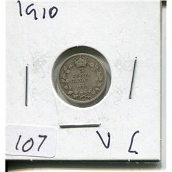 1910 CNDN SMALL 5 CENT PC *SILVER*