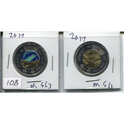 TWO 2017 CNDN TWO DOLLAR COINS (1 IS COLORED) *GLOW IN THE DARK*