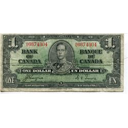 1937 $1 BANKNOTE (BANK OF CANADA) *COYNE/TOWERS*