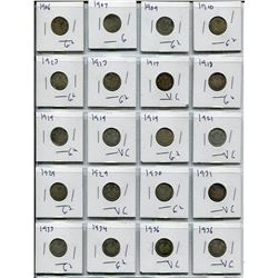 SHEET OF CNDN DIMES (SILVER) *1906 TO 1936* (QTY 20)