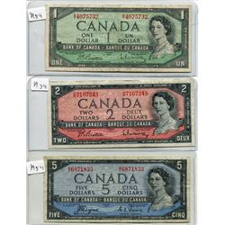 SHEET OF THREE 1954 CNDN BANKNOTES *$1, $2, & $5*