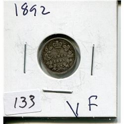 1892 CNDN SMALL 5 CENT PC *SILVER*