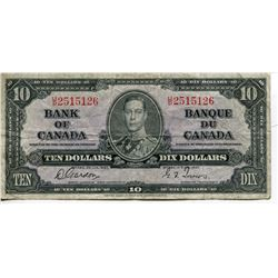 1937 BANK OF CANADA $10 BANKNOTE *GORDON/TOWERS*