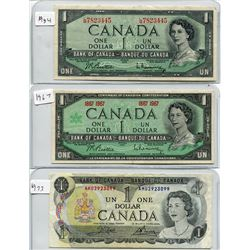 SHEET OF THREE CNDN $1 BANKNOTES *1954, 1967, 1973*