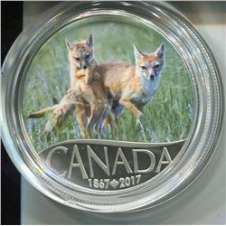 2017 CNDN $10 COIN (FINE SILVER) *CANADA'S 150TH WILD SWIFT FOX & PUPS*
