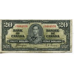 1937 BANK OF CANADA $20 BANKNOTE *GORDON/TOWERS*