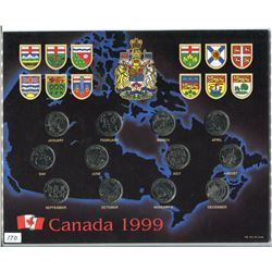 SET OF 1999 CNDN 25 CENT PCS (12 MONTHS OF THE YEAR) *QTY 12*
