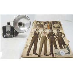 KODACK BROWNIE HAWKEYE CAMERA (W/ ATTACHED FLASH) & *PARTIAL* 1952 EATONS CATALOGUE