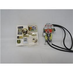 SHRINER BOLO TIE & CARD OF LAPEL PINS