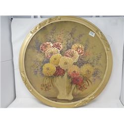 LARGE ROUND PICTURE FRAME (W/PRINT)