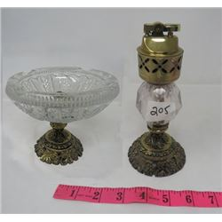 ORNATE TABLE LIGHTER AND MATCHING ASHTRAY