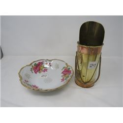 BRASS MATCH HOLDER & SERVING DISH (JAPANESE)