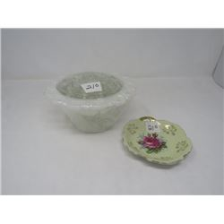 MILK GLASS FOOTED FLOWER HOLDER (W/CLEAR GLASS ARRANGER) & SMALL PLATE (JAPANESE)