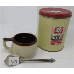 MUG (FROM PORTOBELLO, SCOTLAND); GOLDEN STANDARD COFFEE TIN & SILVER CONDIMENT SPREADER