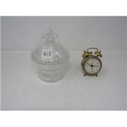 SMALL FISHER ALARM CLOCK (FROM GERMANY) & LIDDED GLASS DISH