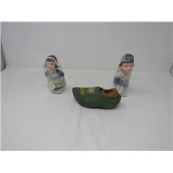 CERAMIC DUTCH BOY AND GIRL SALT/PEPPER & 2 DUTCH SHOES
