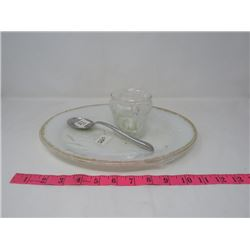 FIREKING PLATTER (W/GOLD TRIM & SERVING SPOON) & GLASS FLOATING CANDLE