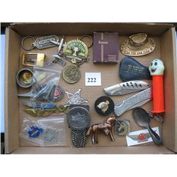 LOT OF MISC. ITEMS (POCKETS KNIVES, KEY CHAINS, ETC)