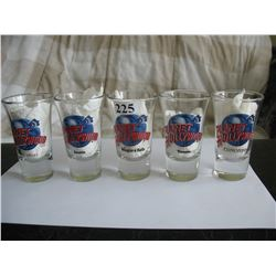 LOT OF 5 DIFFERENT SHOT GLASSES ( PLANET HOLLYWOOD)
