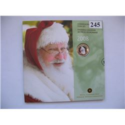 "2008 CANADIAN MINT SET (CHRISTMAS) *SPECIAL COLOURED QUARTER* ""SANTA"""