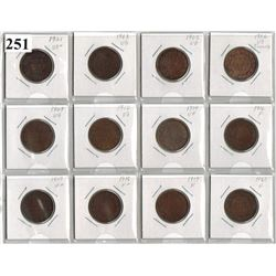 LOT OF 12 DIFFERENT CANADIAN LARGE CENTS *1901 TO 1920*