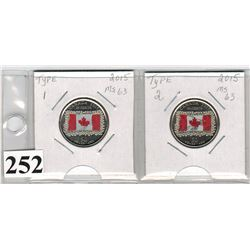2015 CANADIAN QUARTERS (COLOURED FLA) *TYPE 1 & 2*