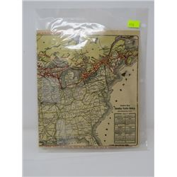 MAP OF THE CANADIAN PACIFIC RAILWAY (1927,  ORIGINAL) *LAMINATED*