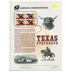 BLOCK OF 4 STAMPS (U.S.A) NO 461 *TEXAS STATEHOOD 1995*