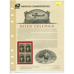 BLOCK OF 4 STAMPS (U.S.A) NO 454 *BESSIE COLEMAN 1995*