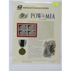 BLOCK OF 4 STAMPS (U.S.A) NO 459 *POW & MIA 1995*