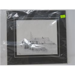 PRINT OF OLD CAR/ABONDONED HOUSE (MATTED, NOT FRAMED)