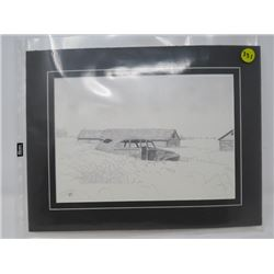 PRINT OF OLD CAR (1950s), BARN & SHED (MATTED, NOT FRAMED)