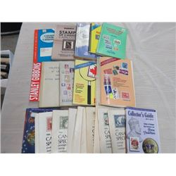 BOX OF OVER 20 CATALOGUES, REFERENCES TO CANADIAN STAMPS