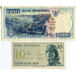 2 BANK NOTES 10 & 1000 RUPIAH (INDONESIA)