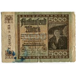 5000 MARK (GERMANY) 'INFLATION CURRENCY' *ISSUED 1922