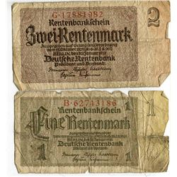 2 BANK NOTES 1 & 2 MARK (GERMANY) *ISSUED 1937*
