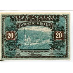 20 HELLER (AUSTRIA) *1920 INFLATION PAPER NOTE*