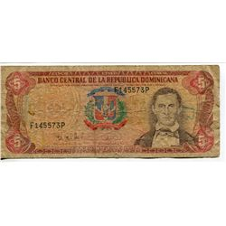 2 BANK NOTES (DOMINICA REPUBLIC) 5 & 20 PESOS *OLDER CURRENCY*
